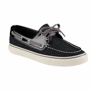 Sperry Biscayne Black Canvas Boat Shoes Size W7.5